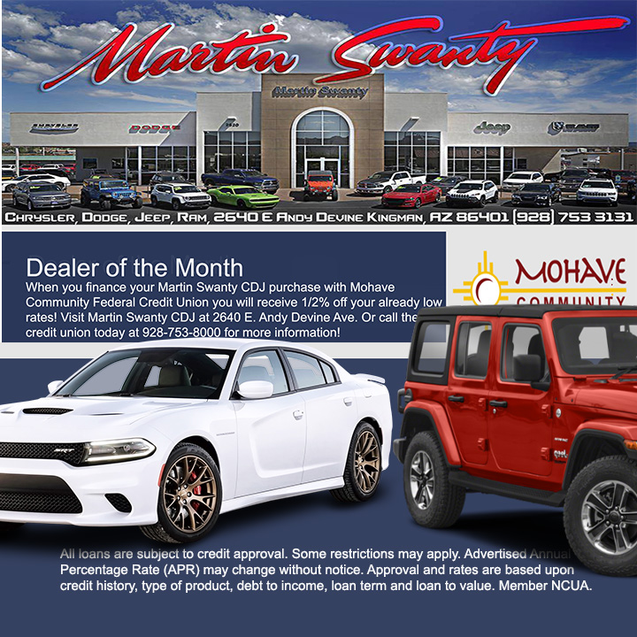 Martin Swanty CDJ is our Auto Dealer of the Month! Call us at 928-753-8000 for all the details.