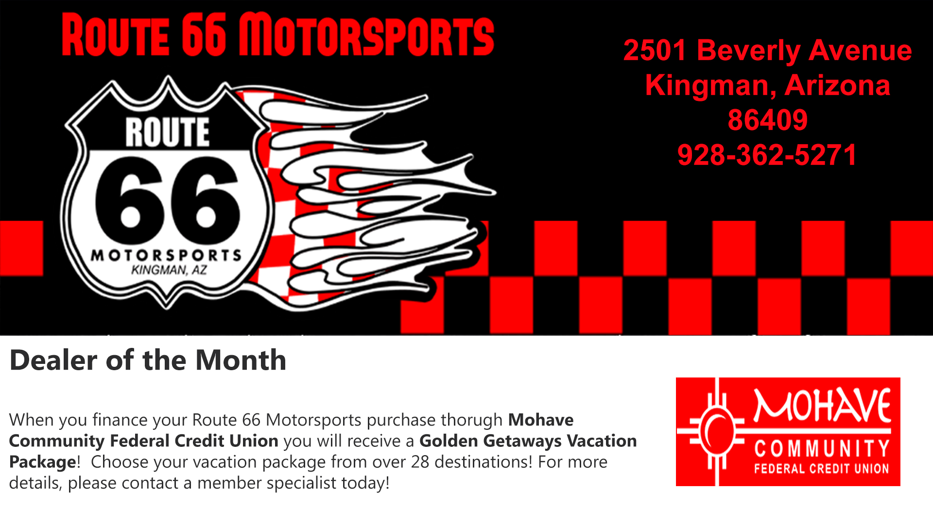 Route 66 Motorsports - Dealer of the Month
