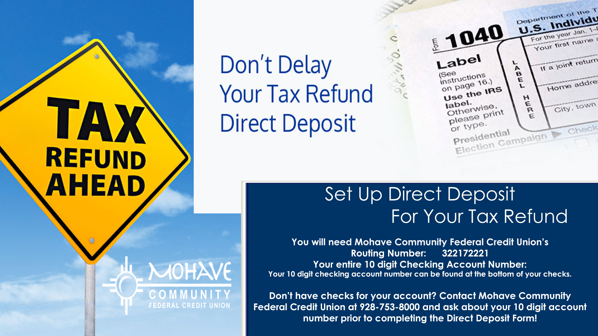 Don't delay your tax refund - set up direct deposit for your tax refund